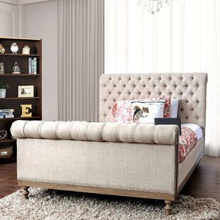 Jaina King Tufted Upholstered Sleigh Bed with Mattress