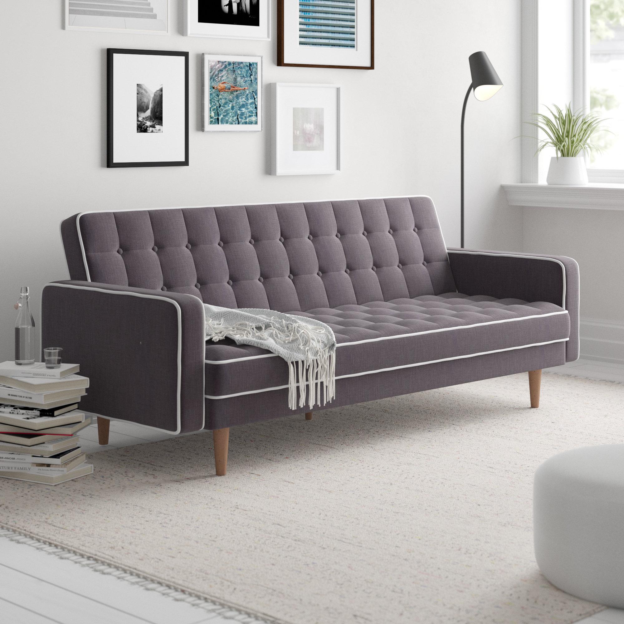 Zipcode Design Noe Mid-Century Modern 2 Tone Convertible Sofa ...