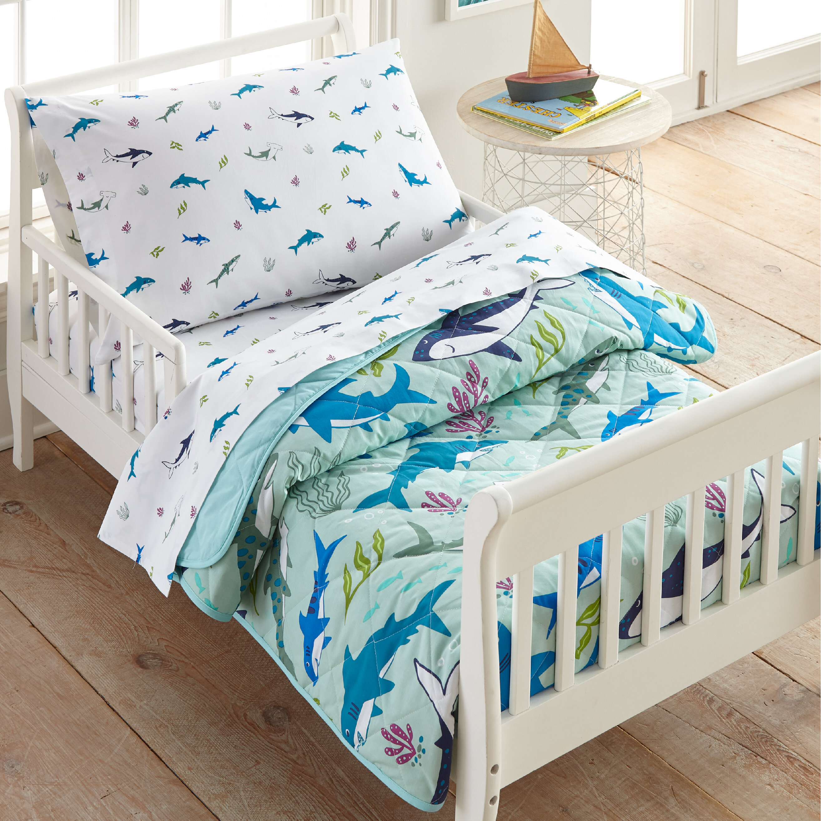 Wildkin Shark Attack Cotton 4 Piece Toddler Bedding Set Wayfair