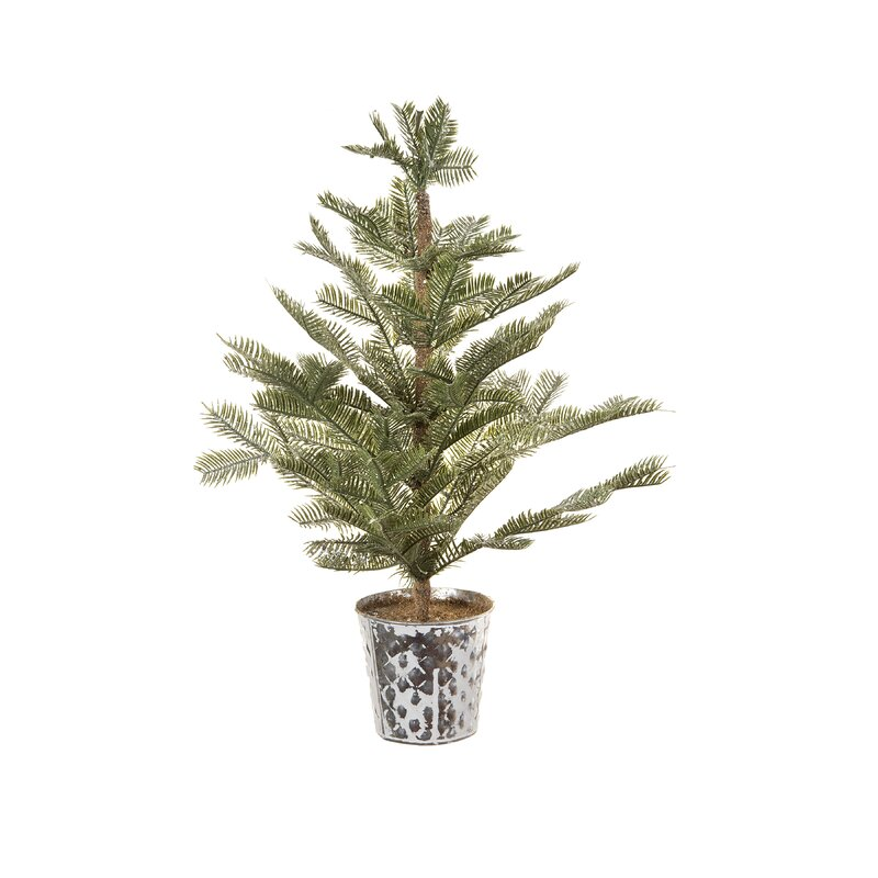 "Potted 24"" Green Pine Trees Artificial Christmas Tree with Glitter and Sequins"