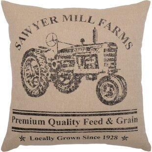 Surikova Tractor Cotton Throw Pillow