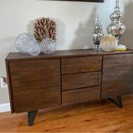 Midway 60 Wide 3 Drawer Acacia Wood Buffet Table Reviews Allmodern