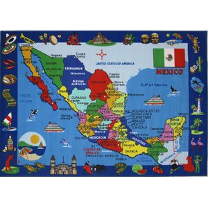 Fun Time Map of Mexico Kids Rug