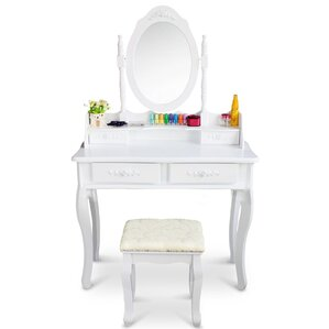 vanity set with stool and lighted mirror. Willowbrook Makeup Vanity Set with Mirror Lighted Sets  Wayfair