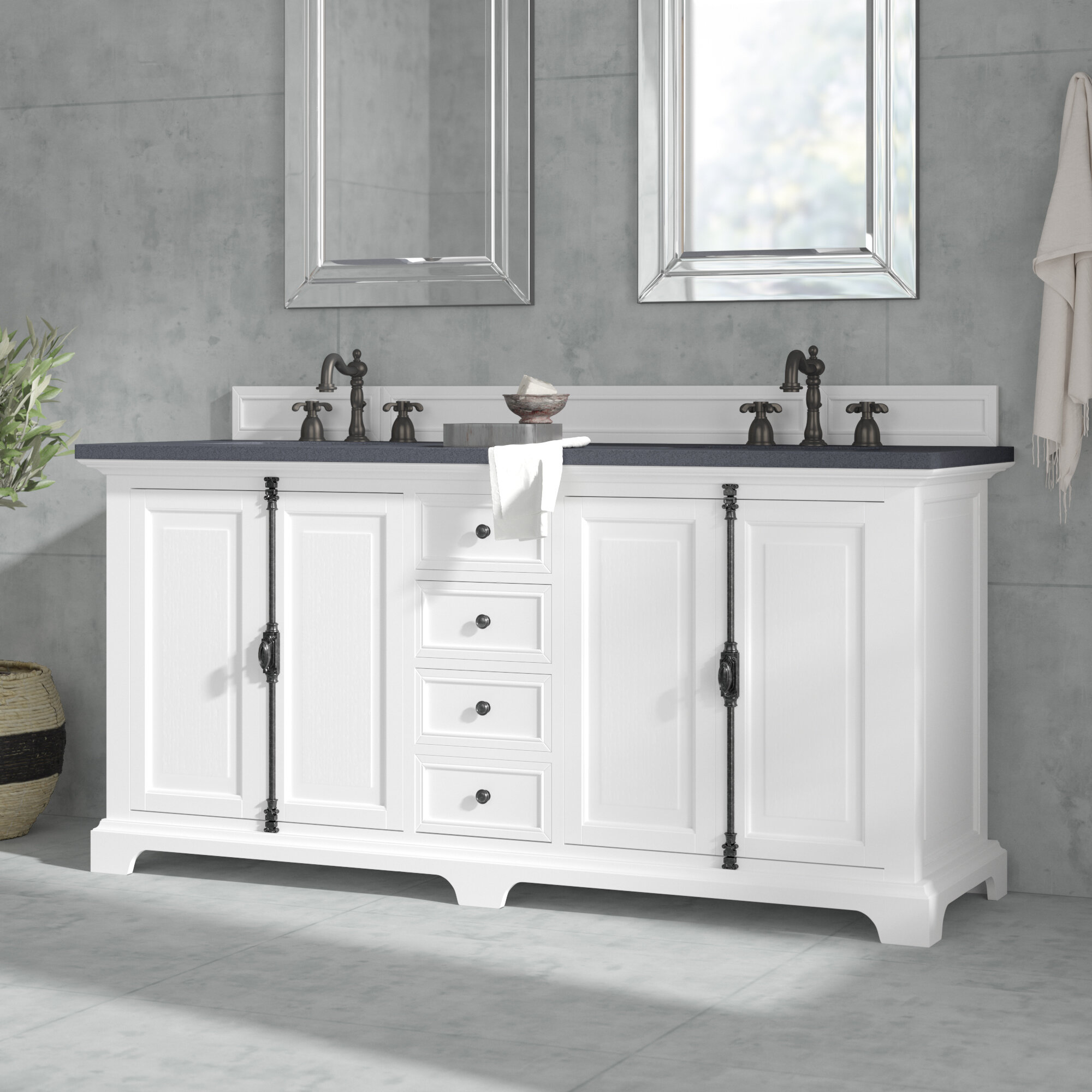 Outstanding Cuyuna 72 Double Cottage White Bathroom Vanity Set Home Remodeling Inspirations Genioncuboardxyz