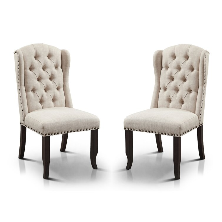 Rehoboth Tufted Wingback Side Chair in Beige