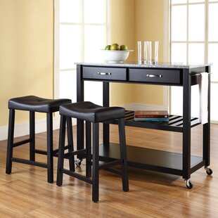 Hedon Kitchen Island Set with Granite Top Three Posts