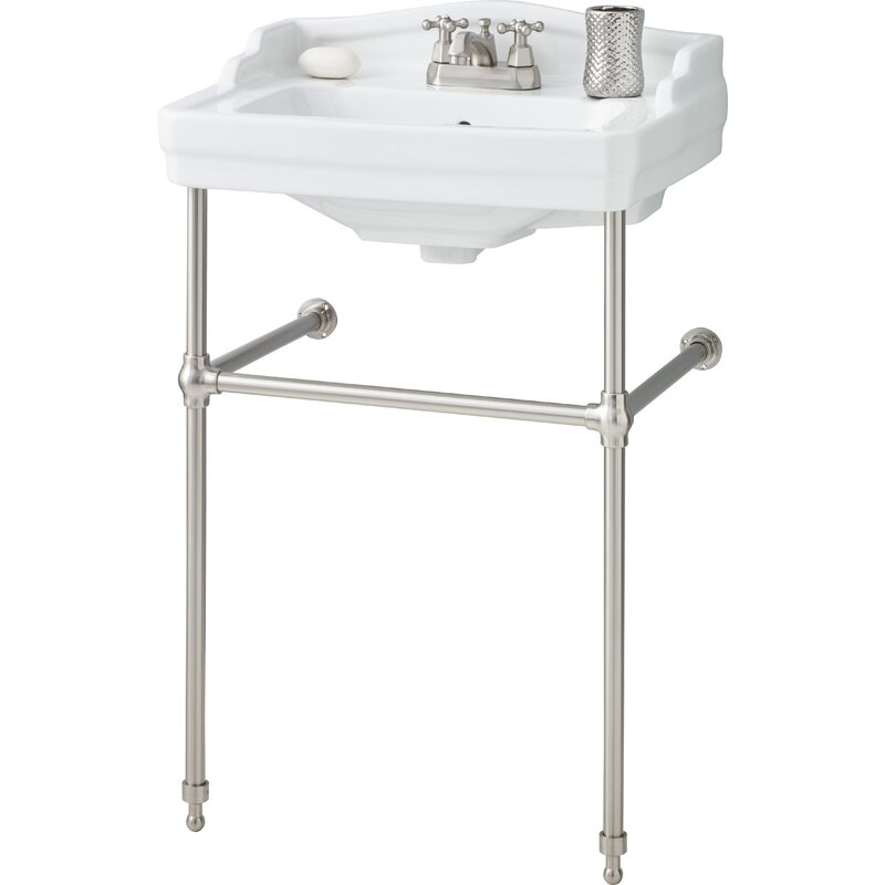 "Essex Metal 24"" Console Bathroom Sink with Overflow"