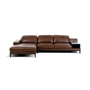 Cana Leather Reclining Sectional by Orren Ellis