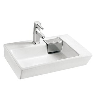 Vitreous China Rectangular Vessel Bathroom Sink with Overflow by KDK HOME