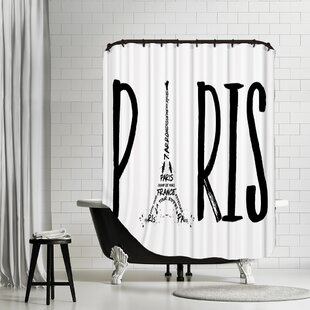 Paris Typography Shower Curtain