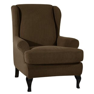 Stretch Box Cushion Wingback Chair Slipcover By Marlow Home Co.