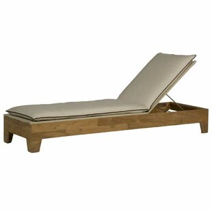 Summer Classics Ryan Reclining Teak Chaise Lounge with Cushion