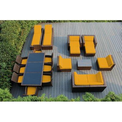 Orren Ellis Baty 20 Piece Complete Patio Set with SUNBRELLA Cushions Cushion Color: Sunbrella Sunflower Yellow, Frame Finish: Mixed Brown