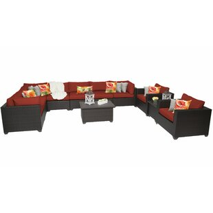 Fernando 11 Piece Rattan Sectional Seating Group with Cushions