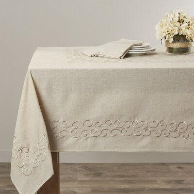 "Lark Manor Denim Scroll Design Tablecloth Size: 180"" L x 67"" W"