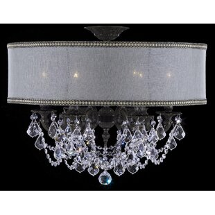 American Brass & Crystal Llydia 6-Light Semi-Flush Mount