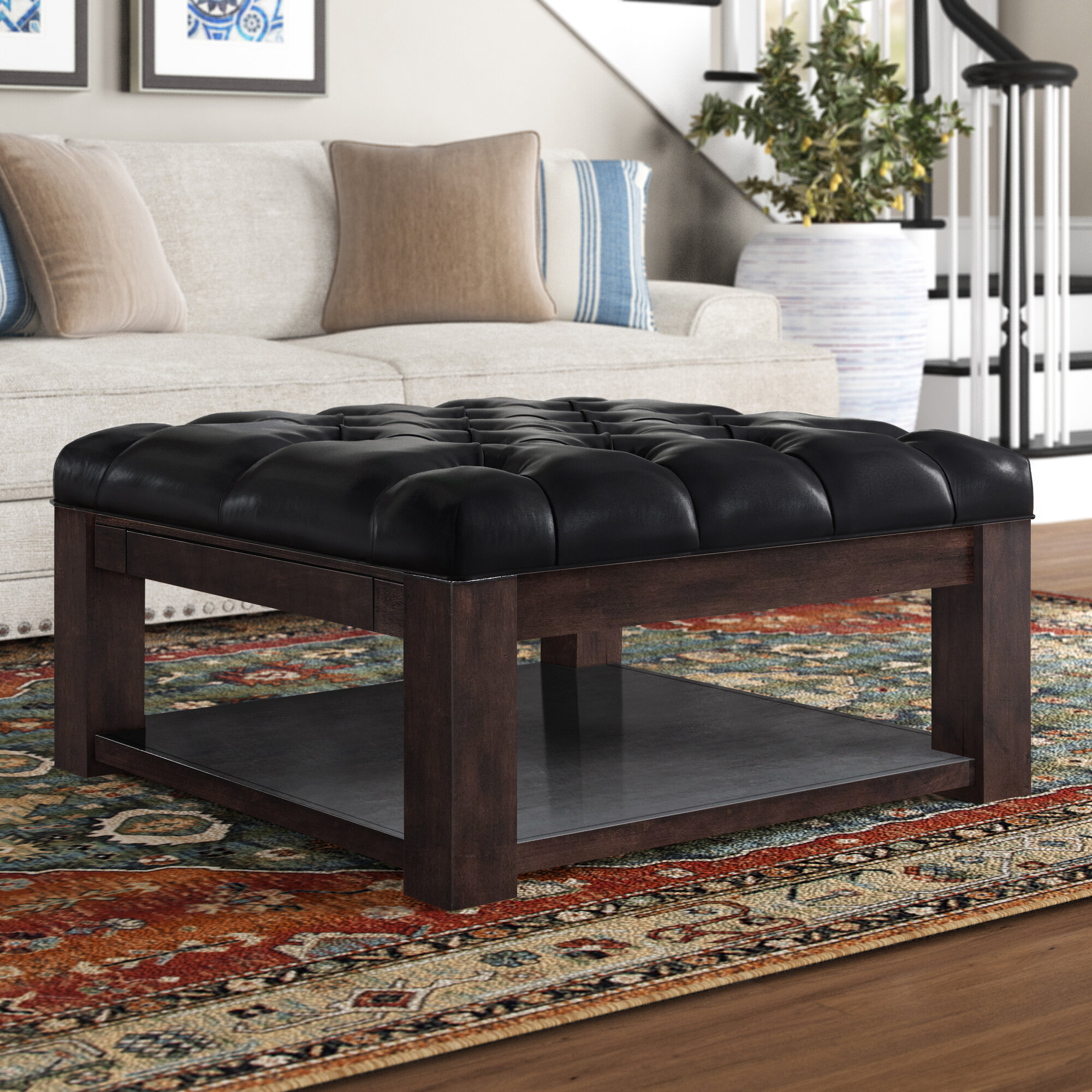 Three Posts Abshire Tufted Cocktail Ottoman Wayfair