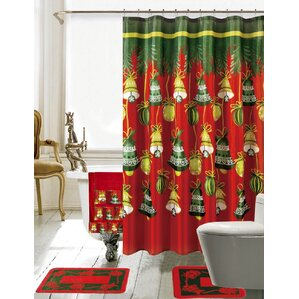 christmas bathroom decor 18 piece redgreen shower curtain set - Bathroom Designs With Shower Curtains