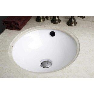 Ceramic Circular Undermount Bathroom Sink with Overflow by American Imaginations