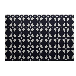 Carine Geometric Print Navy Blue Indoor/Outdoor Area Rug