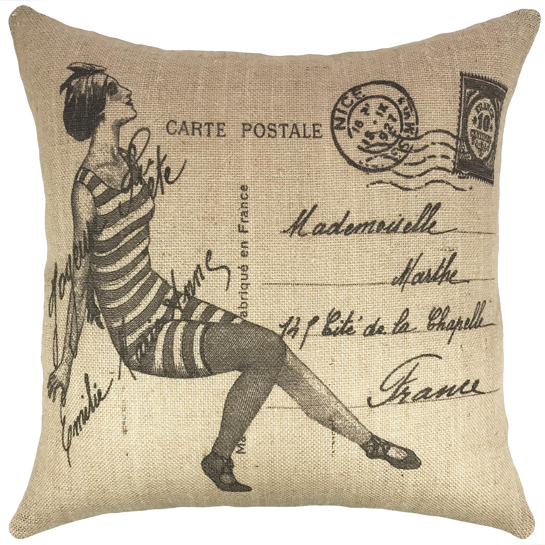 Thewatsonshop Vintage Swimsuit Burlap Throw Pillow Wayfair