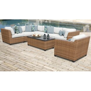 Rosecliff Heights East Village 8 Piece Rattan Sectional Seating Group with Cushions
