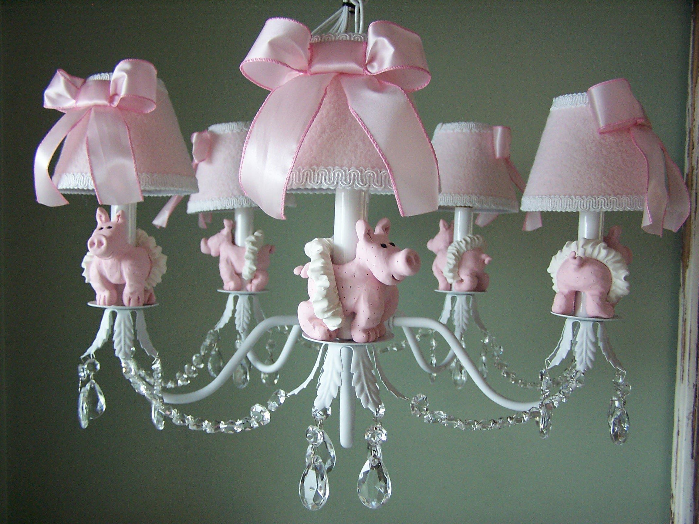 Piggy Princess 5 Light Shaded Chandelier