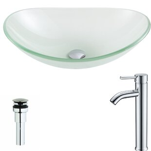 Order Forza Glass Oval Vessel Bathroom Sink with Faucet By ANZZI