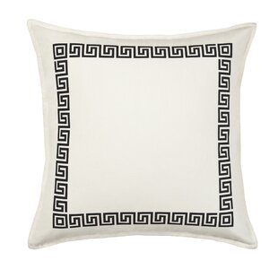 Greek Key Cotton Canvas Throw Pillow