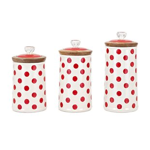 Wood and Ceramic 3 Piece Kitchen Canister Set