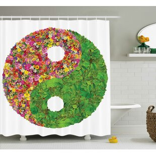 Alejandro Yang Decor Flower Leaves Shower Curtain + Hooks