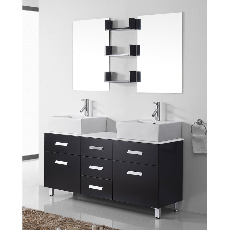 Orren Ellis Azaiah 56 Double Bathroom Vanity Set With White Stone Top And Mirror Reviews Wayfair