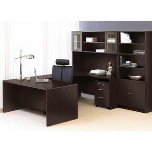 Haaken Furniture Pro X Executive 6 Piece U-Shape Desk Office Suite