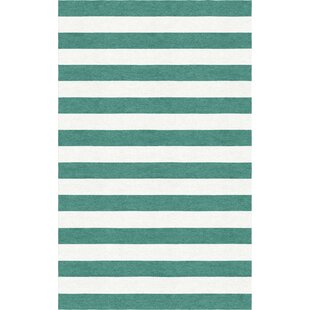 Great Price Shappee Stripe Hand-Tufted Wool Teal/White Area Rug By Latitude Run