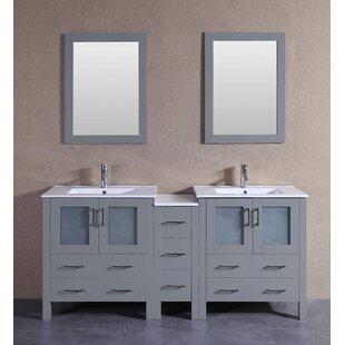 Levi 72 Double Bathroom Vanity Set with Mirror by Bosconi