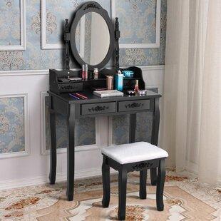 Geoffrey Vanity Set with Mirror by House of Hampton