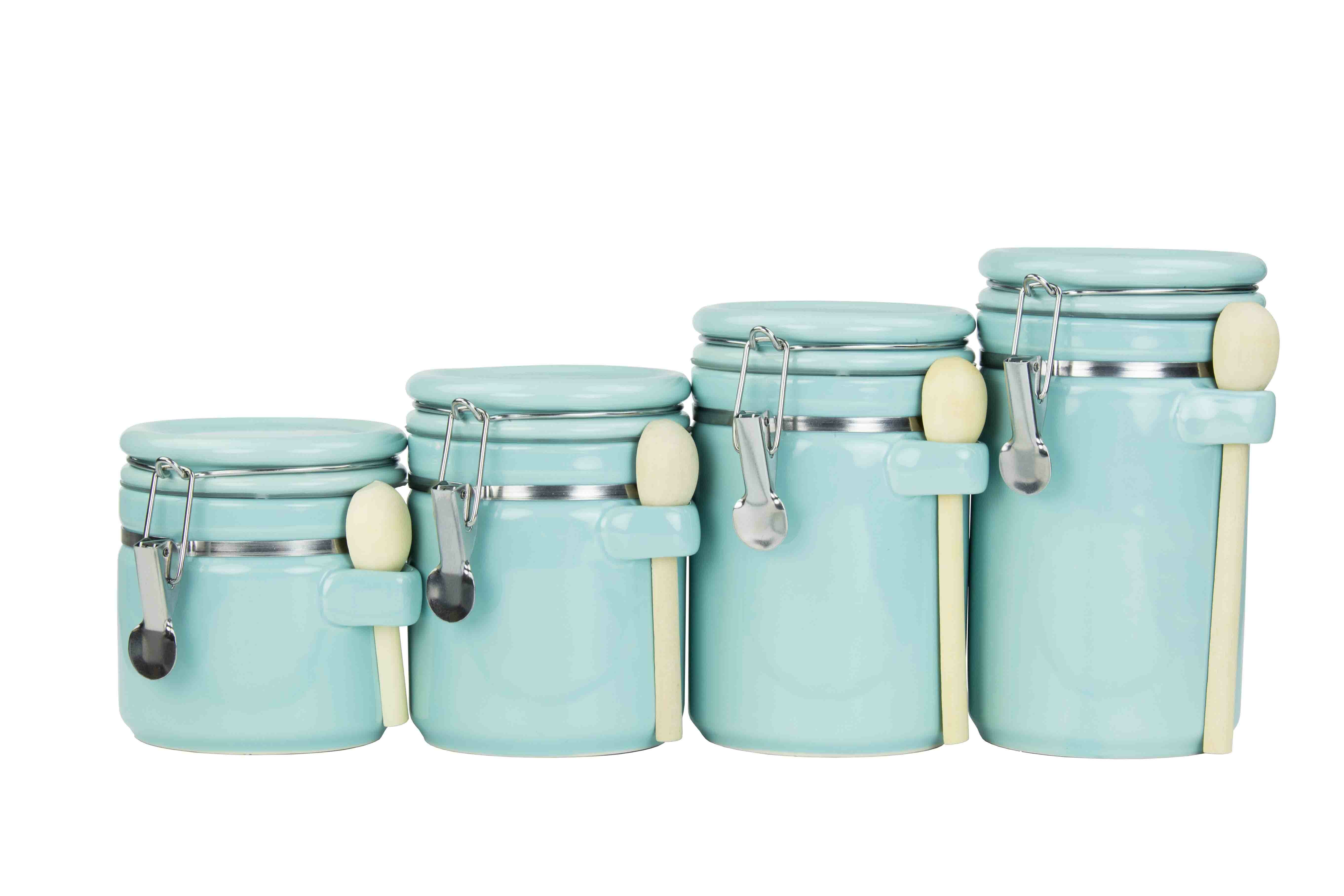 Home Basics Ceramic with Spoon 4 Piece 1 qt. Kitchen Canister Set ...