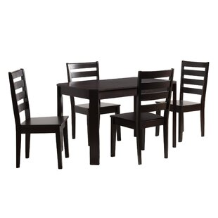 Goodman 5 Piece Solid Wood Dining Set (Set of 5) Breakwater Bay