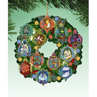 12 Days Of Christmas Wreath Hanging Wood Ornament