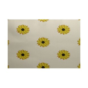 Belgrade Sunflower Frenzy Flower Print Off White Indoor/Outdoor Area Rug