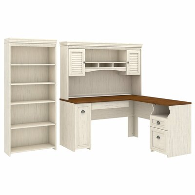 Oakridge Desk with Hutch and Bookcase Set Color: Antique White by Beachcrest Home