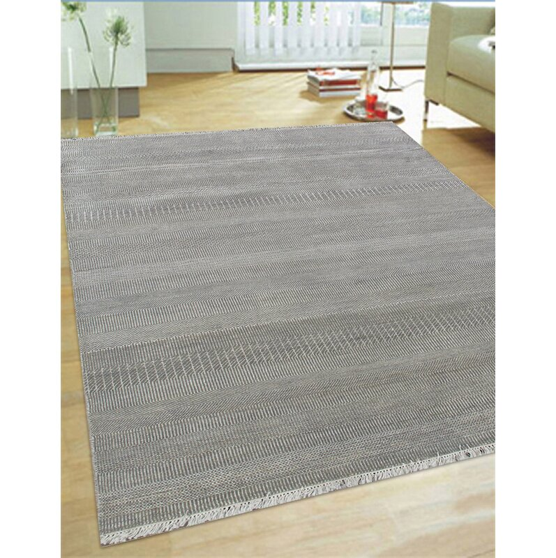 Hand Knotted Wool And Rayon From Bamboo Silk Area Rug