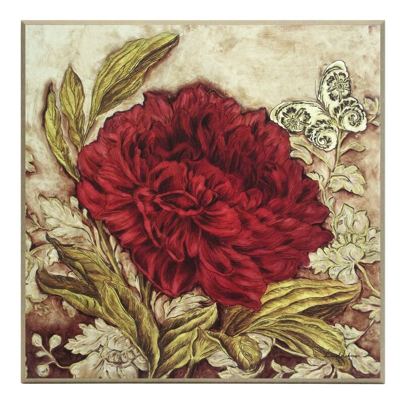 Astoria Grand Fine Art 'Antiqued Peony' Painting Print On