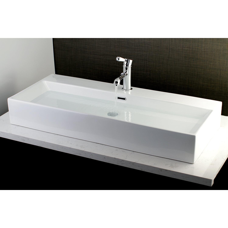 Kingston Brass Fauceture Vitreous China Rectangular Vessel Bathroom Sink With Overflow Wayfair
