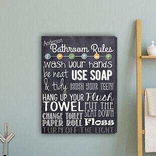 Bathroom Rules Textual Art On Canvas
