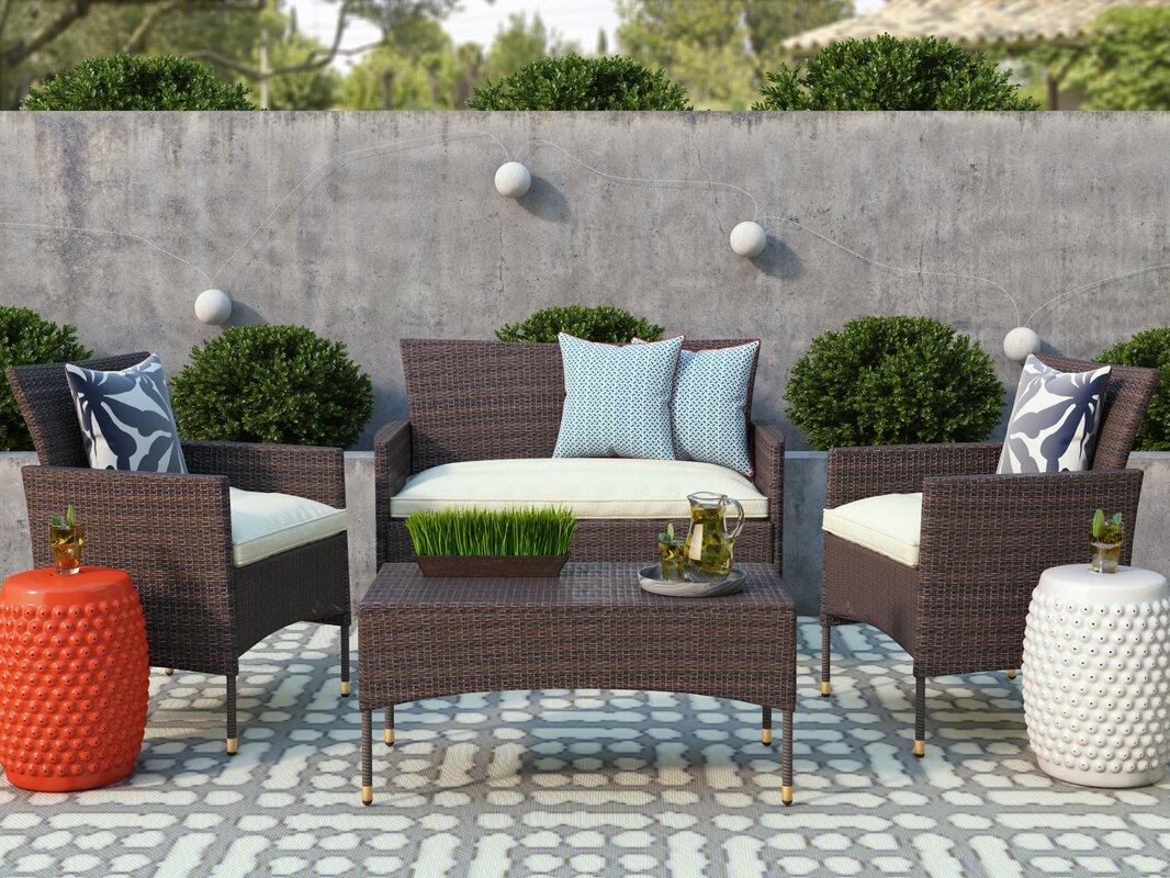 Wrought Studio Laverock 4 Piece Sofa Set with Cushions & Reviews ...