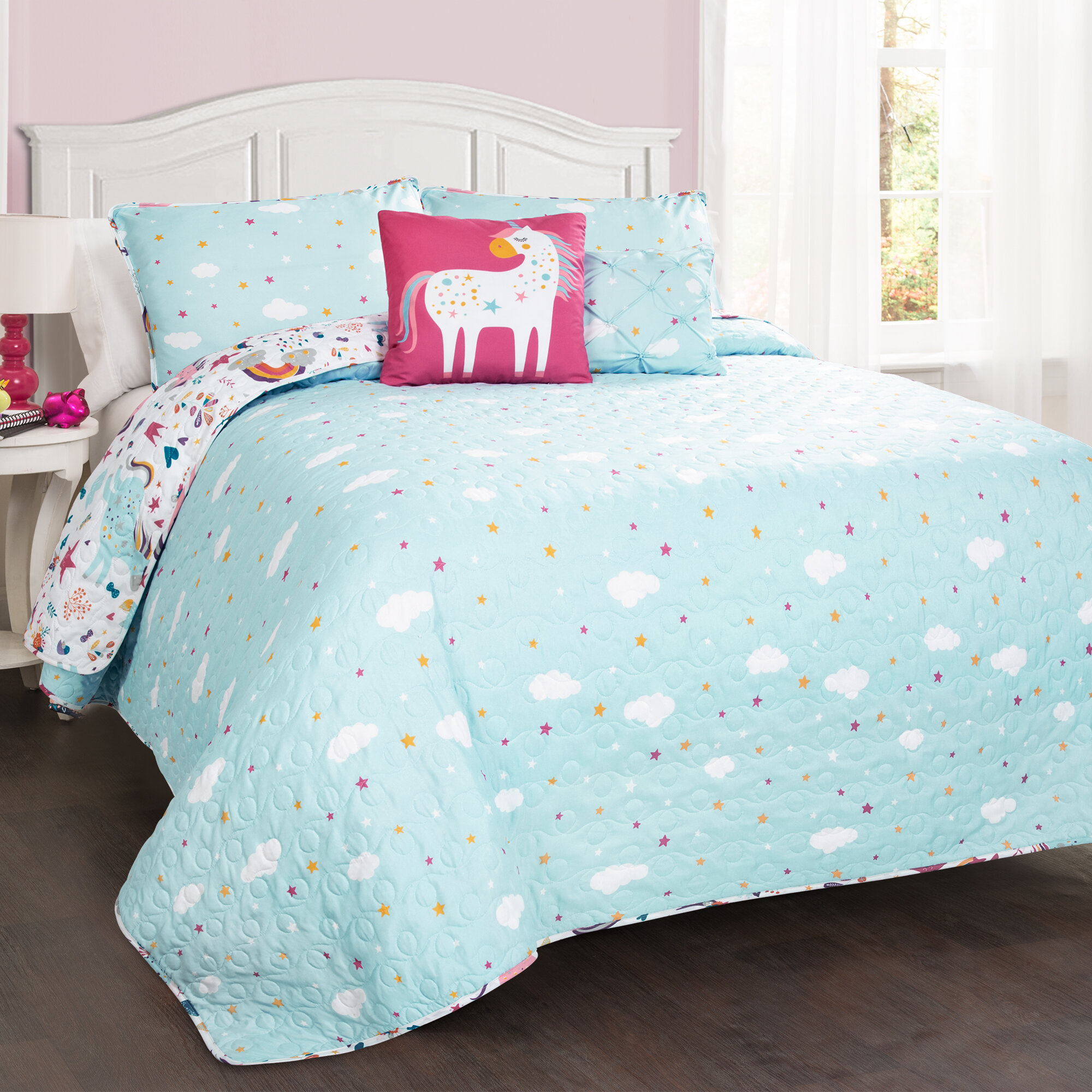 UNICORN Comforter Sham /& Hearts Sheet Set FULL TWIN SIZE Bed In A Bag Pink Girls