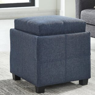 Pimentel Fabric Storage Cube Reversible Tray Lid Ottoman by Ebern Designs