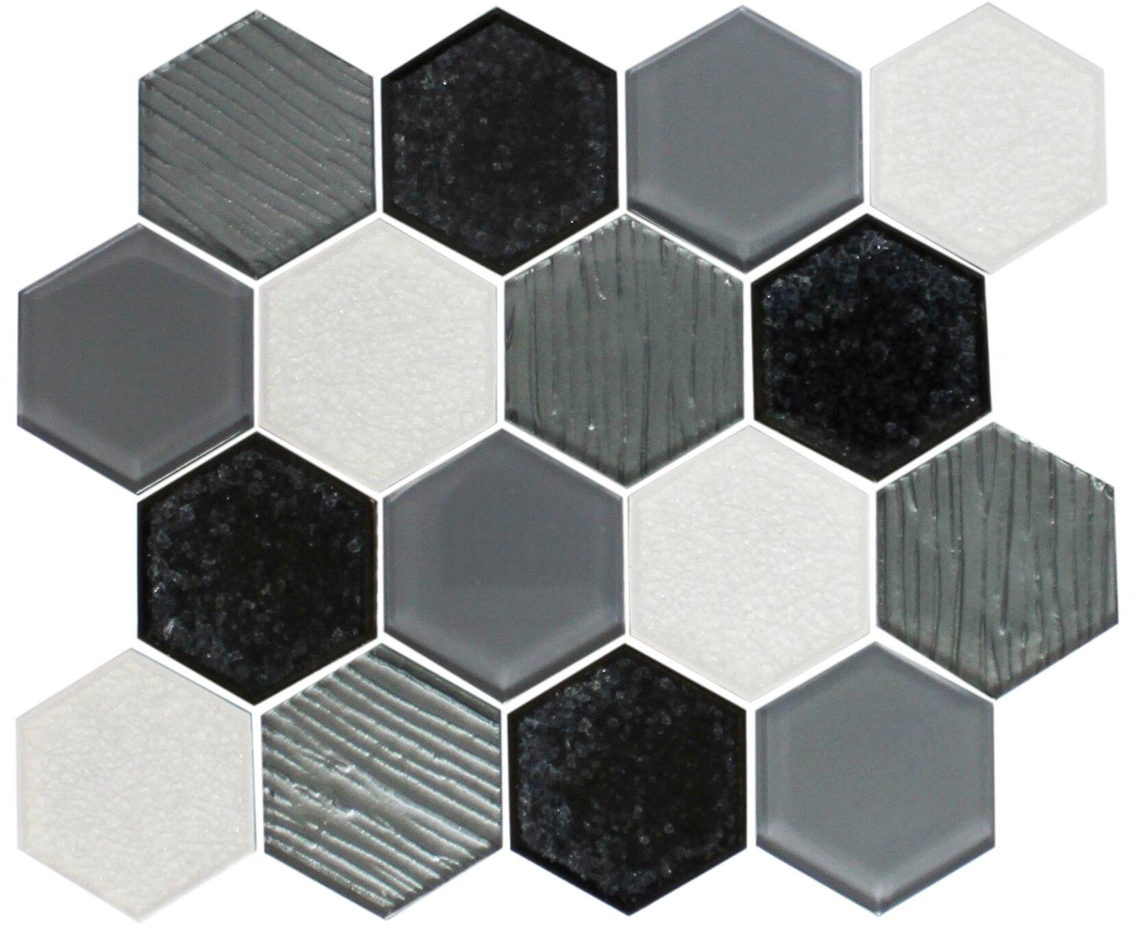 Susanjablon Crackle Hexagon Mix Random Sized Glass Mosaic Tile In White Black Wayfair